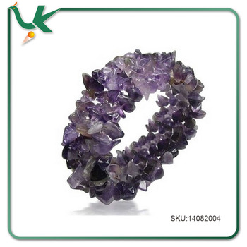Wholesale Jewelry Purple Amethyst Gemstone Chips Chunky Stretch Bracelet
