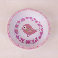 Food touch bird printed pink color round 5inch flat bottom melamine child bowl