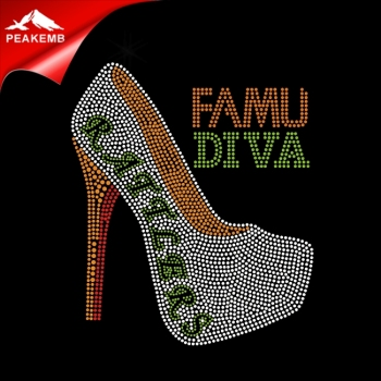 Heat Press Rhinestone Transfer Customized Famu Diva Iron On High Heel  Motifs