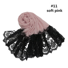 Black Lace Beaded Women Cotton Scarves Cap Muslim Scarf Hijab Shawls