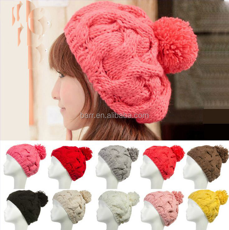 121123 Pure color Ms hat Manual twist knitting wool warm beanie hat