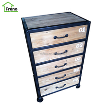 FN-1674 Bedroom Furniture Reclaimed Wood Chest With 5 Drawers