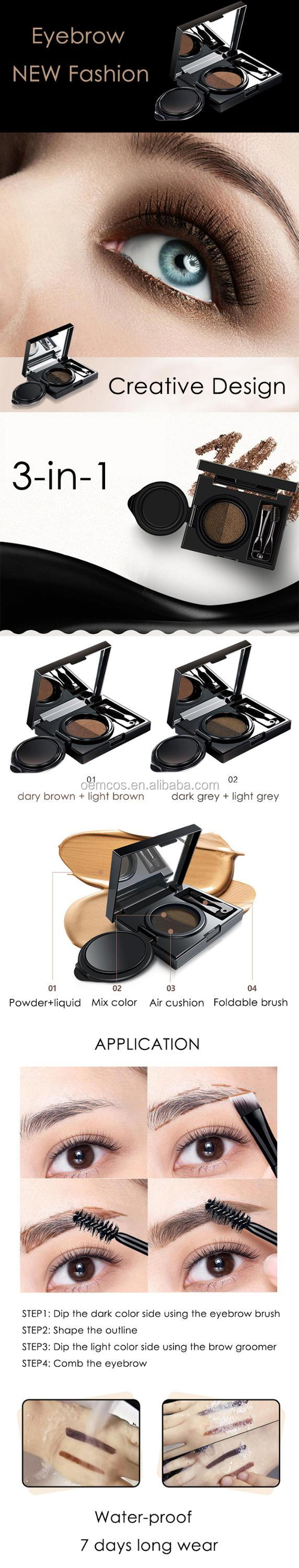 2 Colors Waterproof Air Cushion Dyed StamperMakeup Eyebrow Cream with Brushes