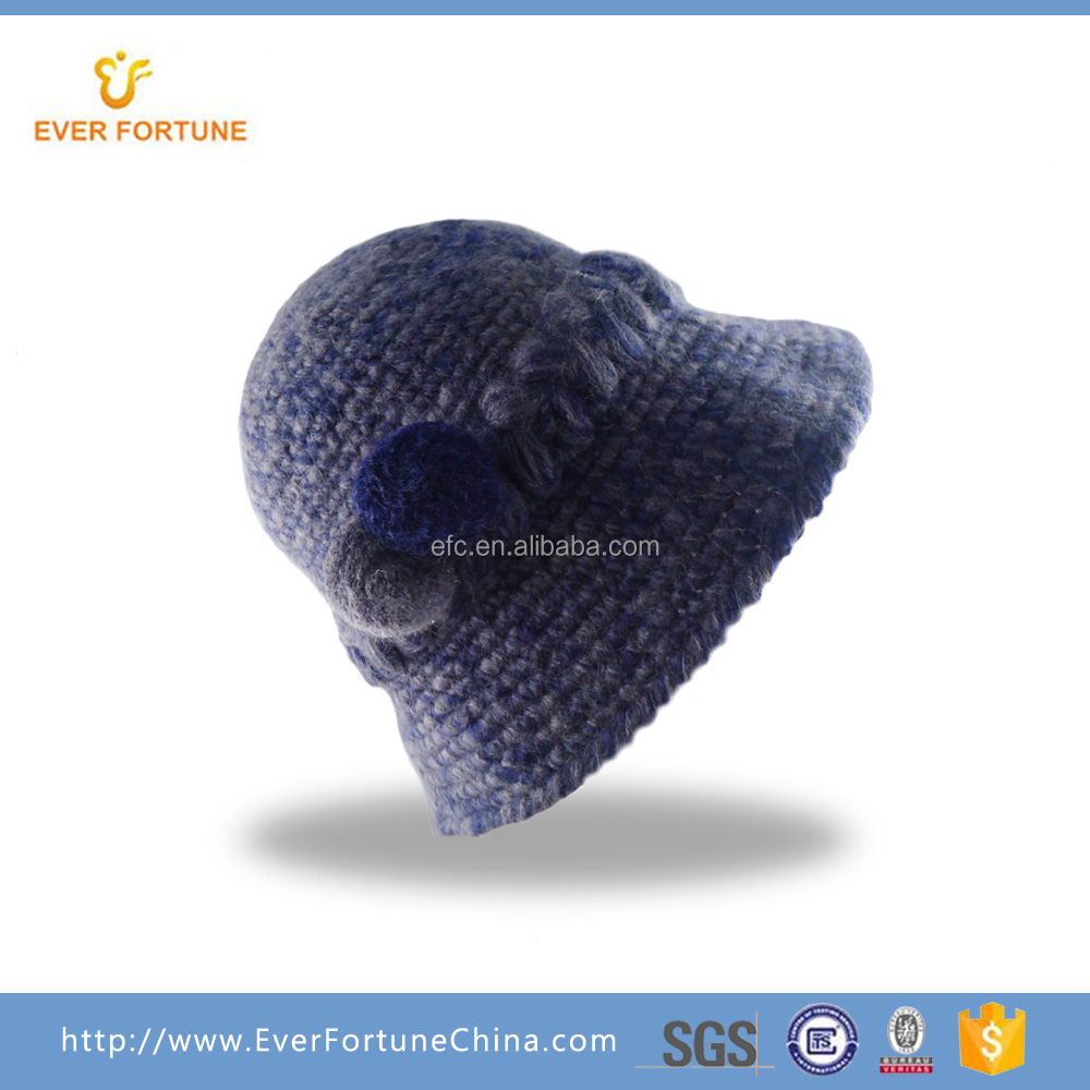 Fashion 100% acrylic handmade knitted lady hats for women