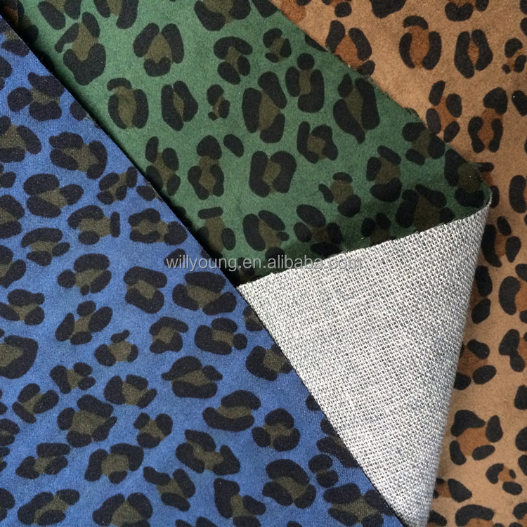 100% Polyester print suede laminated fabric base TC cotton fabric for lady's footwear woman's shoe upholstery fabric