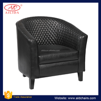 AC-182 Black Leather Decorative Accent Tub Chairs