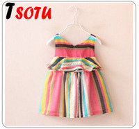 LYQ17 2016 the new children's clothing halter Spell color Princess Dress 3 year old girl dress