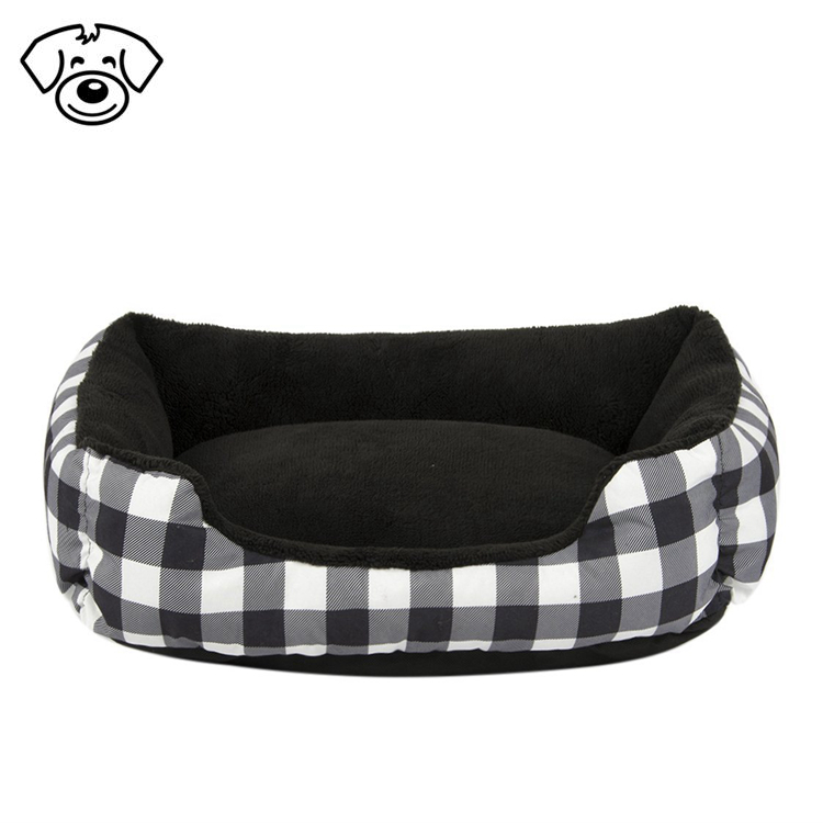 Plush dog cozy bed rectangle design warm pet bed