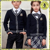 Custom made button up cotton knitted school uniform factory in guangzhou