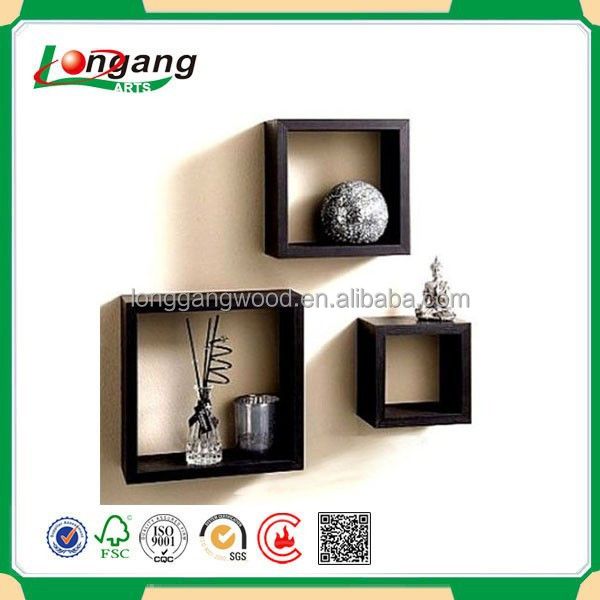 From china most popular cheap Various colors wooden wall window cube shelf for retail store/wood wall shelf