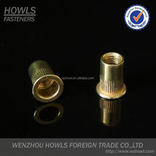 Flat head knurled rivet nut / steel rivet