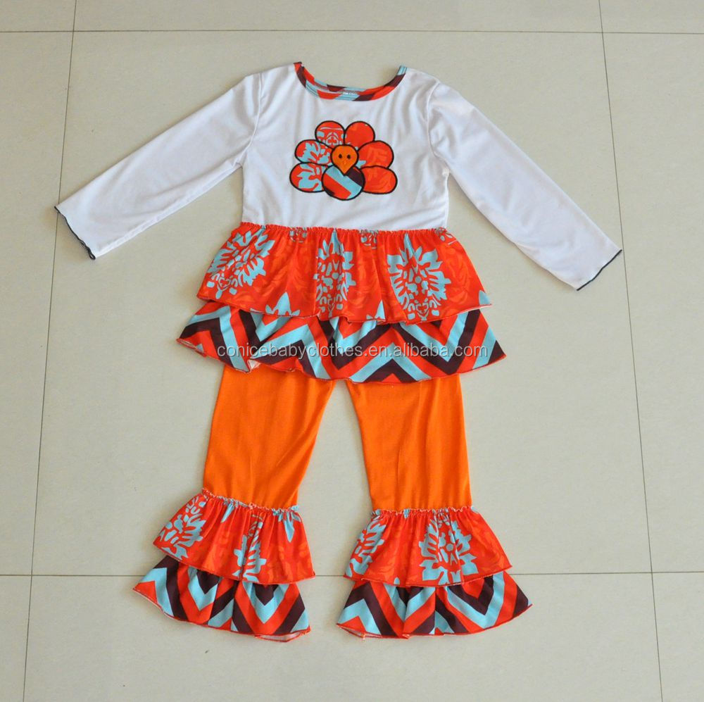 Wholesale childrens boutique clothing turkey embroidery ruffle baby girls thanksgiving outfits