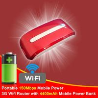 Portable 150Mbps 4400mAh mobile power bank 3G Wifi Router mini portable wireless wifi router