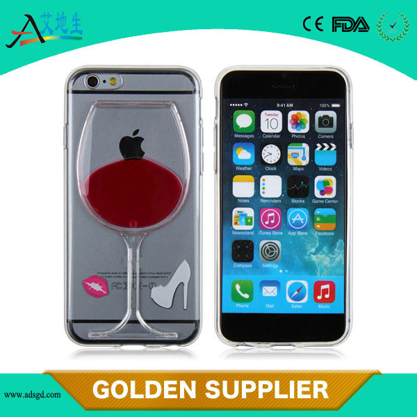 Wholesale 4.7 inch 3D liquid red wine glass plastic mobile phone case for iPhone 6