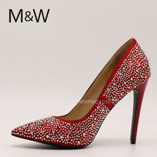 newest fashion red diamond women high heel wedding shoes