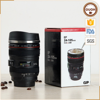 FDA&LFGB Certificated Camera Lens Shaped Insulated Stainless Steel and Plastic Cup