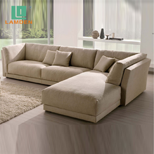 Modern Living Room Furniture Corner L-shaped 3 Seater Fabric Sofa Set with Chaise