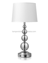 2016 Convenience Outlet 4 metal balls base table lamp with Brushed Nickel