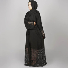 OEM New Arrival <strong>Muslim</strong> Kimono <strong>Abaya</strong> Free Size Islamic Clothing Black Lace Front Open Dubai <strong>Abaya</strong>