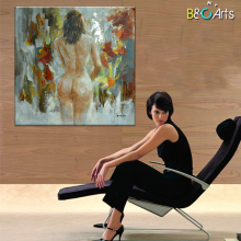 Portrait body art women nude back oil painting for bathroom decoration
