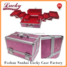 Pink Aluminium Rose Beauty Box Cosmetic Make Up Vanity Salon Case Storage Bag