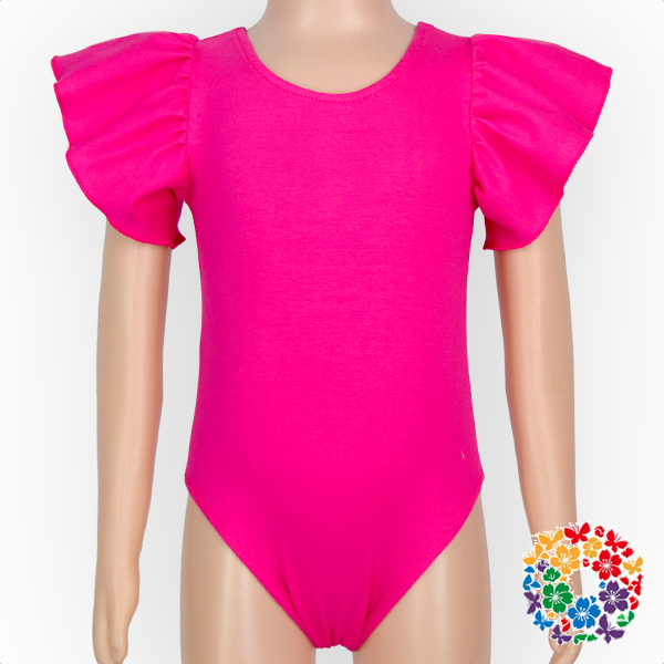 Girls Solid Color Low Back Line Stretchy Ruffle Leotard Bodysuit Baby Infant Rompers