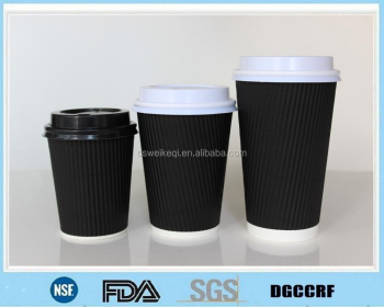 custom printed ripple wall cups/black ripple wall coffee cups/striped paper cups