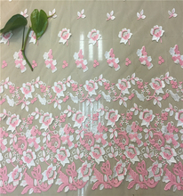 3D flowers embroidery lace fabric african gold tulle lace fabric with beads pink net lace material