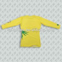 Custom made long sleeve yellow sublimation tshirt