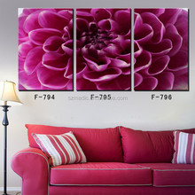 Large Size Room Wall Art Floral Oil Paintings 3 Panel Purple Dahlia Canvas Giclee Printings from Photos