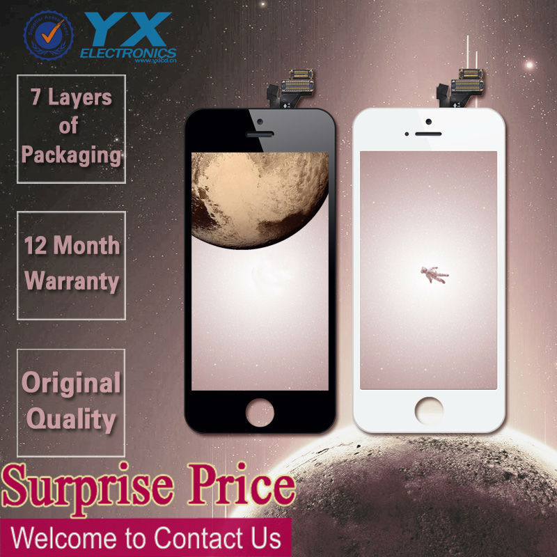 Black LCD Display+Touch Digitizer Assembly+Camera Aprons+Ear Mesh for iPhone 5g