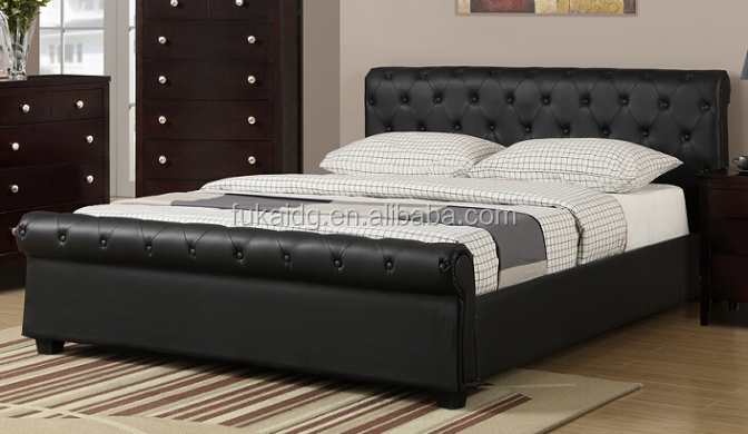 customized size Guangzhou Pu Leather queen size single beds latest style