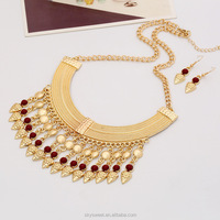fashion gold necklack,lady gold jewelry statement chunky necklace sets with stones(PR587)