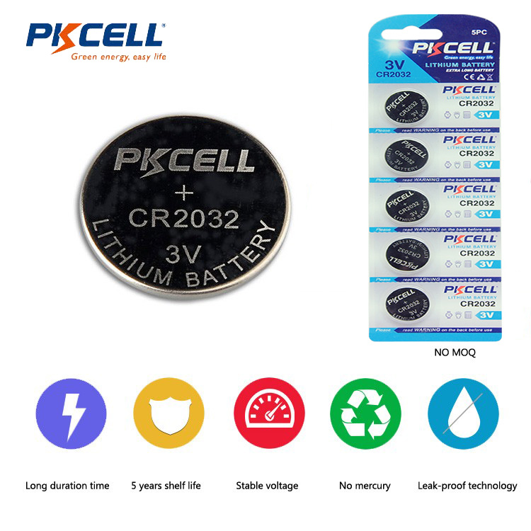 PKCELL High Capacity 210mah CR2032 3V Lithium Button Cell Battery BR2032 DL2032 ECR2032 CR 2032 Lithium Batteries