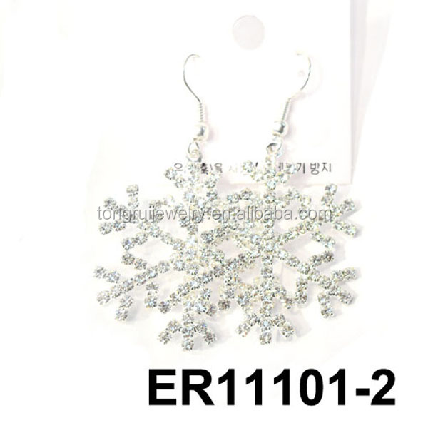 shining christmas crystal airplane white gold snowflake earrings wholesale
