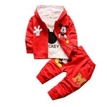 1-5 Years Boys Sets Clothing Cartoon Mickey Child Hooded Zipper Coat 3 pcs boys Suits Clothes Kids T2222