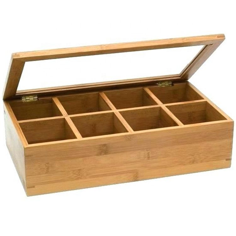 FSC unfinished wooden tea box with glass lid
