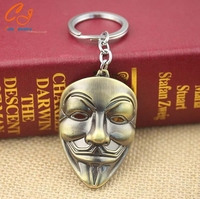 4 colors Movie V for Vendetta keychain ANONYMOUS GUY Mask Metal KeyRing Key Chain Ring Fob for fans