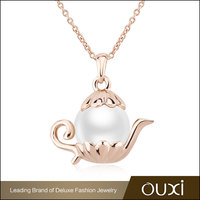 OUXI Cute Pendant Cubic Zirconia 18K Gold Plated Pearl Necklace 11299