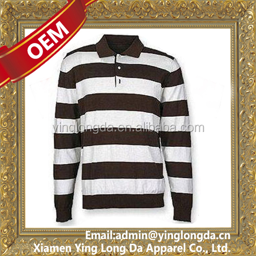 top level promotional striped long sleeve rugby jersey