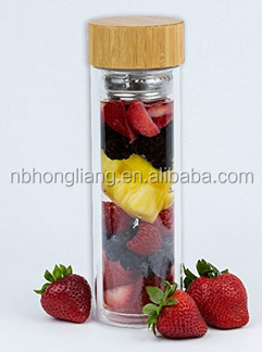 2016 300ml double wall glass bottles manufacturer selling BPA free glass fruit infuser water bottle with bamboo lid