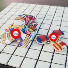 Hot Customize color painting football team logo Tri Fidget Spinner Fingertip Gyro For Stress Reducer toys for fans