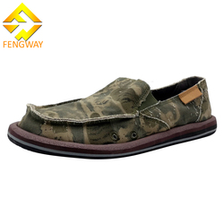 Comfortable slip on fancy mens canvas boat shoes