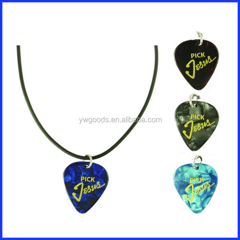 New design guitar pick plastic pendant necklace charm bracelet