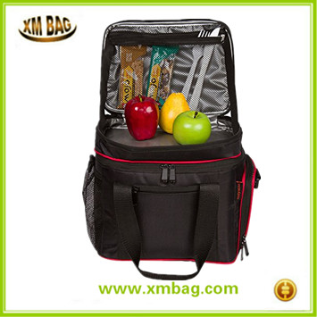 Insulated Cooler Lunch Bag - Multiple Storage Pockets - For Work and Family Outings (Black with Red Trim)