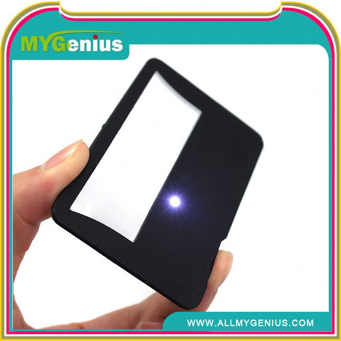 advertising card magnifier ,H0T032 magnifier with uv lamp , solar magnifier