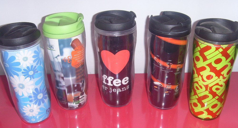 Brands Plastic Double Wall Cup With Advertising Paper
