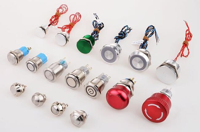 LED ring illuminated latching push button, Anti-vandal metal push button switch, IP67 waterproof stainless steel pushbutton