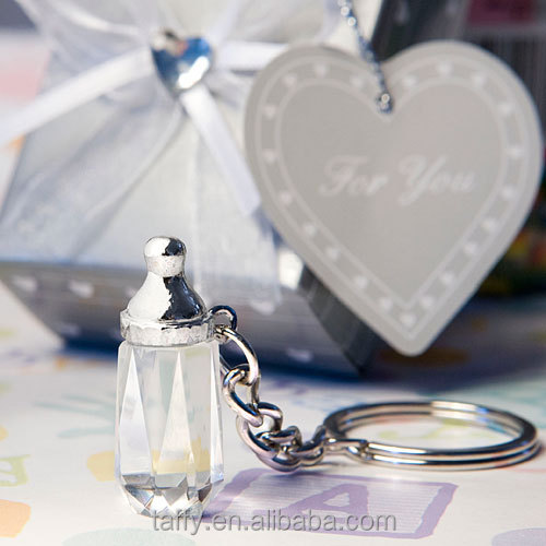 2017 new baby shower favor party supplies decoration kids birthday guest gift souvenirs crystal key chains milk bottle key ring