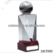 china Custom made 3D laser crystal cricket trophies and awards